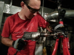 Just another Friday night for Tim, drillin' out a stripped bolt at 2am...