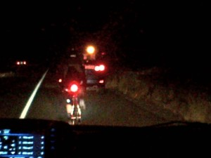 Re-catching second place on a climb along I-82 toward Yakima, approaching midnight.